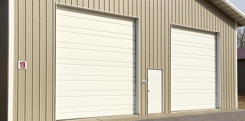 Ribbed commercial steel garage door